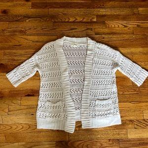 Cream short sleeve sweater cardigan